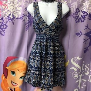 Forever 21 Sexy Tribal Pattern Blue Stretchy Dress